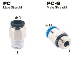 PneumaticPlus PC-1/2-N4 Push to Connect Tube Fitting, Male Straight - 1/2'' Tube OD x 1/2'' NPT Thread (Pack of 10)