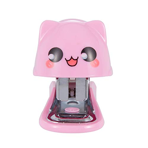 Mini Stapler, Small Desktop Stapler, 12 Sheets Capacity with 640 No.10 Staples, Mini Cute Cat Design as Best Gift for Students and Children (B3093) (Pink)