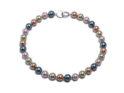 JYXJEWERLRY Fashion Women Classical 12mm Multicolor Round Seashell Pearl Necklace for Girls ()