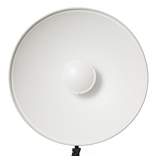 Fovitec - 1x 22 inch Bowens Mount Photography Beauty Dish - [Aluminum][Lightweight][White][Strobe & Monolight Compatible][Grid Not Included]