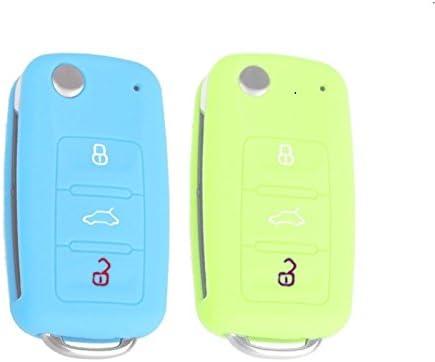 Ylc Pack Of 2 Silikon Auto Schlüssel Schutz Fall Car Key Cover Für Vw Golf 6 Skoda Seat 3 Knöpfe Luminous Blau Luminous Green Auto