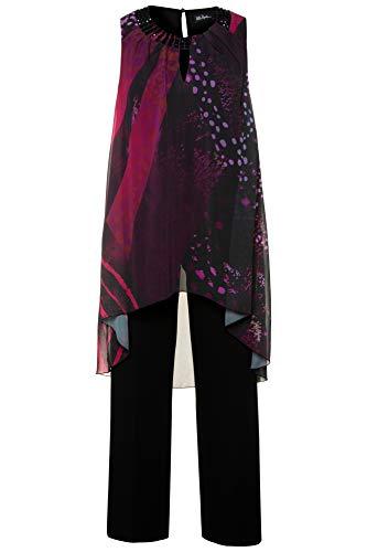 - Ulla Popken Women's Plus Size Beaded Two Piece Occasion Pants Suit Black/Fuchsia 16 705897 58