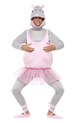 (Smiffys Adult Unisex Ballerina Hippo Costume, Top, pants Headpiece and Shoe Covers, Party Animals, Serious Fun, One Size,)