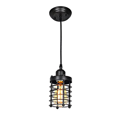Baiwaiz Industrial Ceiling Pendant Light, 1-Light Metal Vintage Mini Cage Hanging Lamp Retro Rustic Island Lighting Height Adjustable Bronze Rust Finishing Edison E26 BW17007 (Pendant Mini Colored Lights)