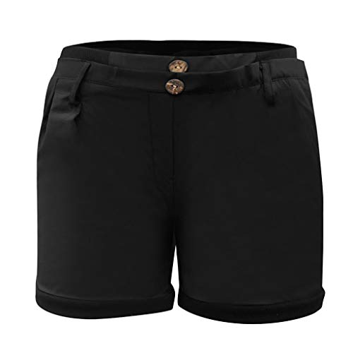 JOFOW Womens Shorts Casual Low Waist Solid Pleated Buttons Mini Pants Bloomers Slim Loose Fashion Trousers Gift Summer (XL,Black)