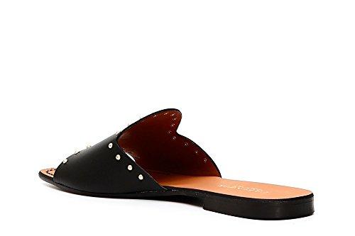 Nero CAF Slippers Noir 010 Black Women Studs GC157 Headband Leather CAFèNOIR v5dwqId