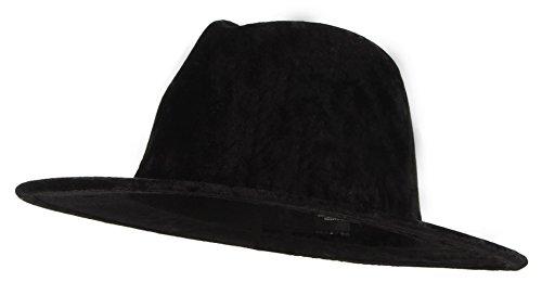 Jelord Women Velvet Wide Brim Panama Fedora Gangster Hat (Black Velvet Fedora Hat)