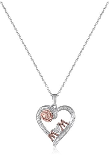 14K Rose Gold over Sterling Silver Diamond Accent MOM Heart Pendant Necklace, ()