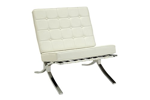 Acme Furniture 96374 Elian Accent Chair, One Size, Ivory PU & Chrome