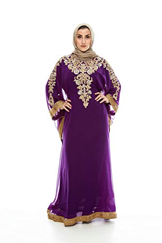 (Royal Bliss Kaftan for Women, Long Sleeve Maxi Dress & Formal Gown (Purple), 100% Chiffon Made with Adjustable Hidden Waist Strap, Designed with Alluringly Beautiful Gold Beads and Crystal )