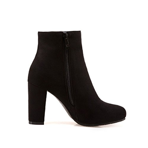 Ankle Suede High Flower Boots Heels Side Chunky Sweet Short Pointed Bootie Toe DOTACOKO Women's Zipper Black Prints qnxYwCE0g