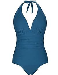 Hilor Women's Bandeau Blouson Tie Tankini Set Two Piece Swimsuit