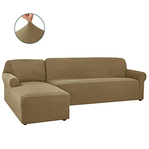 CHUN YI 2 Pieces L-Shaped Left Chaise Jacquard Polyester Stretch Fabric Sectional Sofa Slipcovers Dust-Proof L Shape Corner 2 Seats Sofa Cover Set for Living Room (Sand)