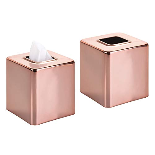 mDesign Modern Square Metal Paper Facial Tissue Box Cover Holder for Bathroom Vanity Countertops, Bedroom Dressers, Night Stands, Desks and Tables, 2 Pack - Rose Gold