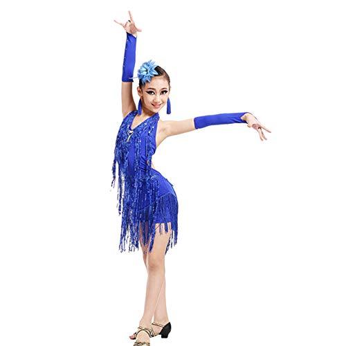JOFOW Kid Girls Latin Dance Dresses Costume Performance Sparkling Tassel Choker Rumba Samba Salsa Ballroom Carnival Costume (150,Dark Blue)