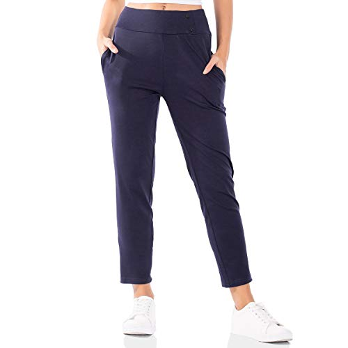 Brovollous Women's Pants Trouser High Waist Slim Leg Pull-On Stretch Ankle Pants with Pockets (Navy ()