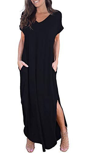 GRECERELLE Women's Casual Loose Pocket Long Dress Short Sleeve Split Maxi Dress Black ()