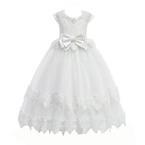 LIVFME Girls First Communion Dresses Elegant Ball Gown for Girls Prom White Pageant Wedding Long Lace Tulle Dress 9t 10t M03White140
