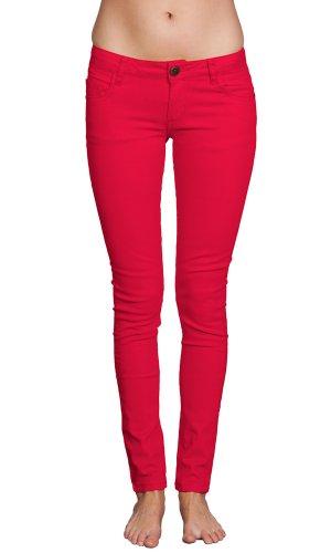 Gazoz Women's Skinny Brushed Cotton Tapered Stretch Jeans