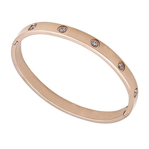 Oval Pave Crystal CZ Bracelet Men&Women Designer Bangle Stainless Steel Jewelry 7.5'' (Rose Gold)