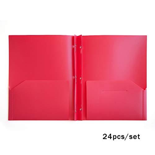 Comix 2 Pocket Letter Size Poly File Portfolio Folder with Three-Prong Fastners - 24Pieces - Pocket 2 Portfolio