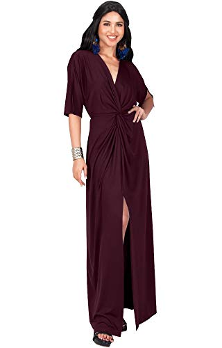 KOH KOH Petite Womens Long Sexy V-Neck Short Sleeve Cocktail Evening Bridesmaid Wedding Party Slimming Casual Summer Maxi Dress Dresses Gown Gowns, Maroon Wine Red S 4-6