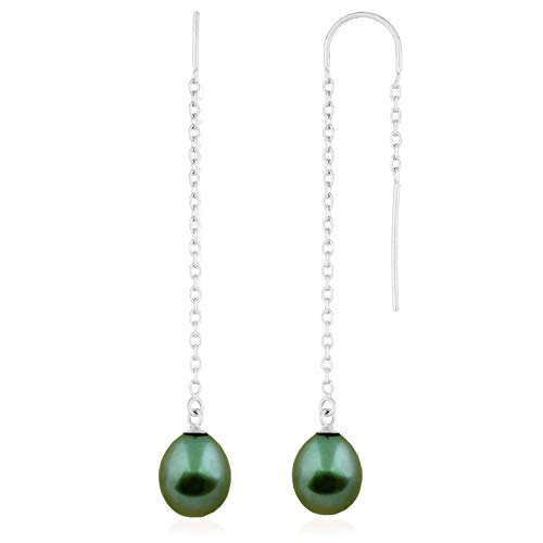 Handpicked AA Quality Cultured Freshwater 8mm Pearls Threader Earrings 925 Sterling Silver Dangle Drop Style (Green) ()
