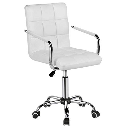 Yaheetech White Desk Chairs with Wheels/Armes Modern PU Leather Office Chair Midback Adjustable Home Computer Executive Chair on Wheels 360° -