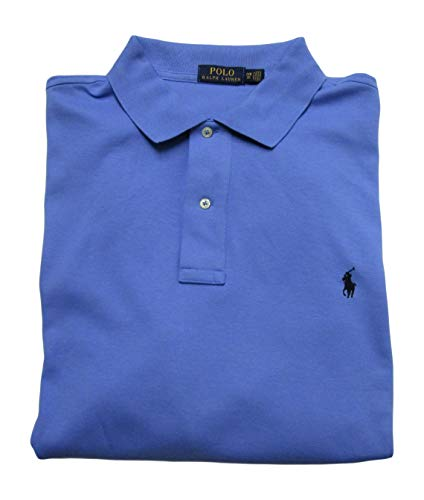 Ralph Lauren Men's Big and Tall Interlock Polo Shirt, Pony Logo, Classic Fit. (Blue/Navy Pony, 3XB)