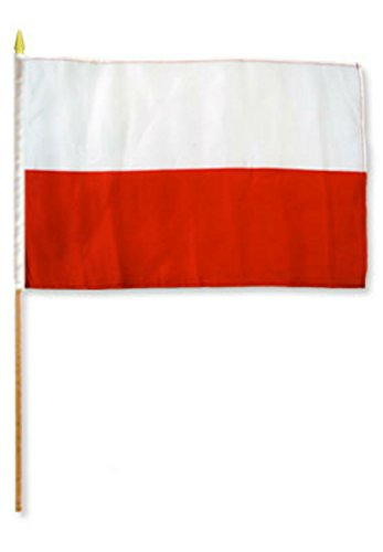 ALBATROS 12 inch x 18 inch (6 Pack) Polish Poland Stick Flag with Wood Staff for Home and Parades, Official Party, All Weather Indoors Outdoors