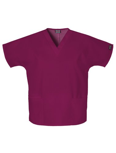 Cherokee Women's V Neck Scrubs Shirt, Wine, XX-Large
