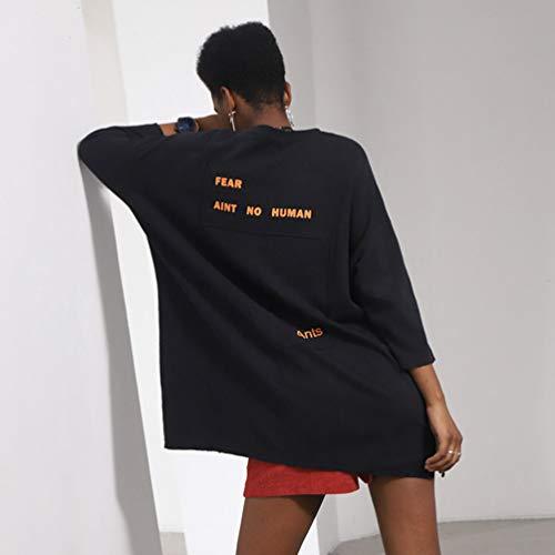 Col shirt À Femmes Casual Sweatshirts Automne Rond Imprimé Jitong Noir T Manches Longues wxpqza6Z1W