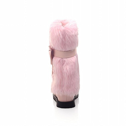 Carol Chaussures Mode Femmes Hiver Fourrure Faux Confort Doux Mignon Réglable Arcs Casual Plat Bottes De Neige Rose