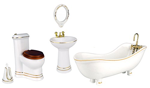 5pcs Porcelain Gold Rim Dollhouse Furniture Bathroom Set - Tub, Sink, Toilet, Mirror, Brush Holder (Porcelain Tub Set)