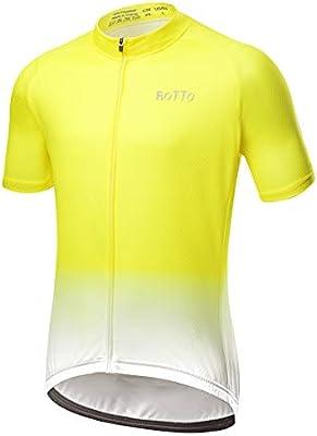 ROTTO Maillot Ciclismo Hombre Camiseta Ciclismo Manga Corta Ropa Ciclista para Bicicleta de montaña con Bolsillo: Amazon.es: Deportes y aire libre
