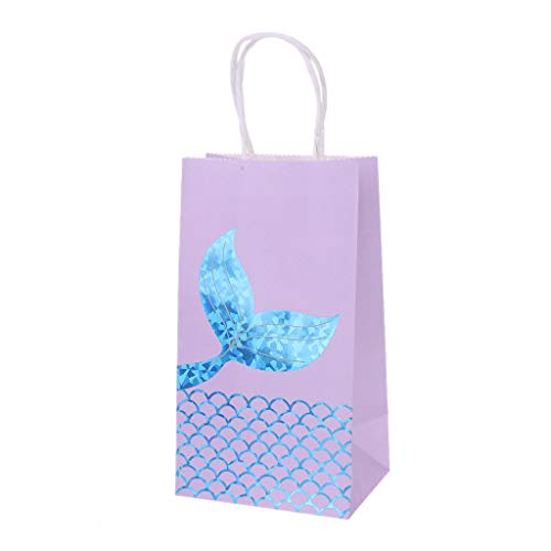 Kofun Bags, Mermaid Gift Bags Goodies Bag Glitter Treat Bags Mermaid Party Supplies Favors for Under The Sea Party Gifts for Girls Ideal Christmas Birthday Mermaid Gift Bags Gift for Kids Blue]()