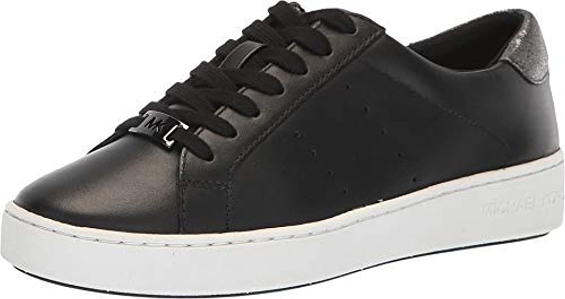 3bd1fd4a9966 Michael Kors Women s Irving Lace Up Leather Black Sneakers ...