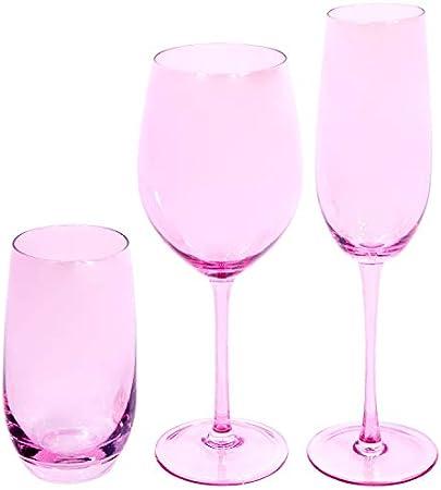 EME Mobiliario Juego de Copas de Cristal en Color Rosa Compuesto por 6 Copas de Cava, 6 Copas de Vino y 6 Vasos. Una Caja Contiene 18 Unidades.
