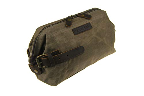 Price comparison product image Royal Fair Men's Toiletries Real Leather Wrist Wrap Retro Wax Canvas Toiletry Bag Travel (Army Green)