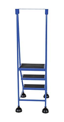 Vestil LAD-3-B Steel Spring Loaded Roll Ladder, 16'' Wide x 11'' Depth, 300 lb. Capacity, 3 Rubber Steps, Blue by Vestil (Image #3)