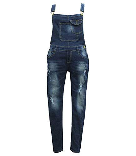 Frontali Donna Pantaloni 88 Con Pantaloncini Stlie Lunghi Denim Tuta A Bobo  Blau Tiefes Da Unique Bretelle ... 4fac17983f01