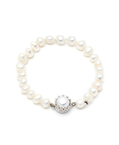 (Carolee Women's Fresh Water Pearl Single Row Bracelet with C Filigree Magnet Bracelet, 7.5