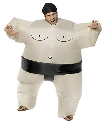 AOGU Inflatable Sumo Wrestler Wrestling Costume Halloween Costume for Adults Inflatable Costumes Cosplay