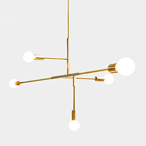 YOKA Modern Metal Pendant Lighting Hanging Lamp Ceiling Chandelier with 5 Lights Fixture Flush Mount (Age Brass)