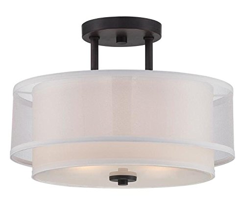 Biscayne Bronze Fusion 2 Light Semi-Flush Ceiling Fixture ()