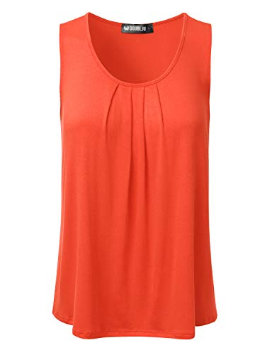 (NINEXIS Women's Basic Soft Pleated Scoop Neck Sleeveless Loose Fit Tank Top Coral S)