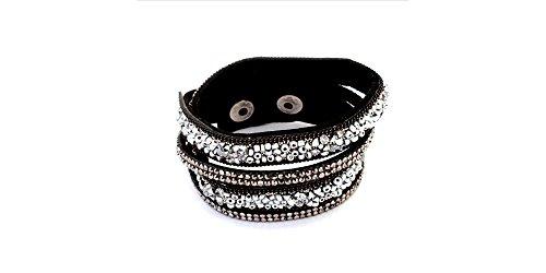 Rhinestone Triple Strand - Global Huntress Leather Gray Silver Rhinestone Seed Beads Triple Wrap Bracelet
