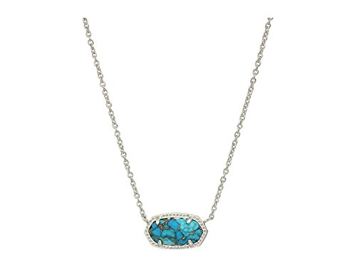Kendra Scott Signature Elisa Pendant Necklace in Gold Plated and Bronze Veined Turquoise Colored Magnasite
