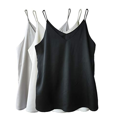 (Wantschun Womens Silk Satin Camisole Cami Plain Strappy Vest Top T-Shirt Blouse Tank Shirt V-Neck Spaghetti Strap US Size L;Black+White+Grey)