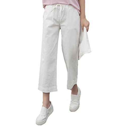 Eleganti A Vita Allentati Da Forti Larga Taglie Casuale Donna Bianca Pantaloni Elastica Solido Gamba Tookang Ba7Y1wqB